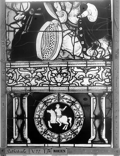 Cathédrale Vitrail, Chapelle Saint-Joseph, Vie de saint Romain, lancette de droite, cinquième panneau, en haut, Heuzé, Henri (photographe),