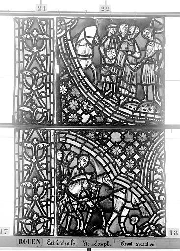 Cathédrale Vitrail, baie 59, Vie de Joseph, neuvième panneau, en haut, Heuzé, Henri (photographe),