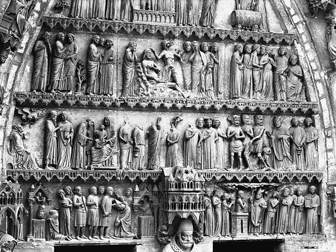 Cathédrale Notre-Dame Portail nord, portail de saint Sixte, tympan, registres inférieurs, Lajoie, Abel,