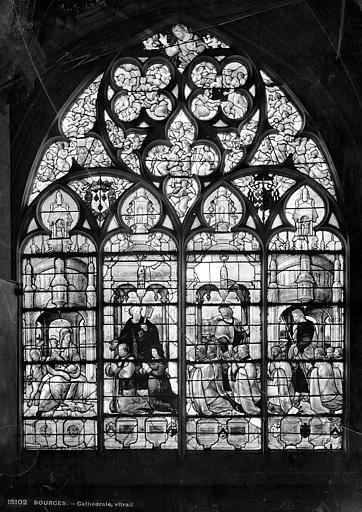 Cathédrale Saint-Etienne Vitrail : Adoration de la Vierge par des donateurs accompagnés de leurs patrons, Leprévost (photographe),