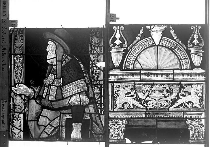 Eglise Saint-Godard Vitrail baie 18, Arbre de Jessé, dixseptième panneau, en haut, Heuzé, Henri (photographe),
