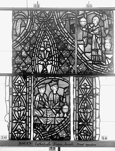 Cathédrale Vitrail, déambulatoire, baie 57, Histoire de Joseph, huitième panneau en haut, Heuzé, Henri (photographe),