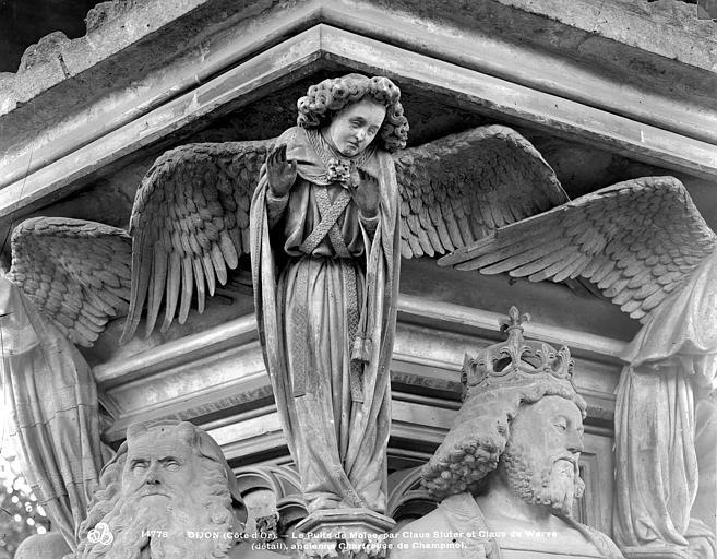 Chartreuse de Champmol (ancienne) Puits de Moïse : Ange encadré par les têtes de Moïse et de David, Neurdein (frères) ; Neurdein, Louis ; Neurdein, Louis (photographe),