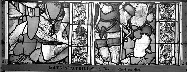 Eglise Saint-Patrice Vitrail, fenêtre droite du choeur, sixième panneau, Heuzé, Henri (photographe),