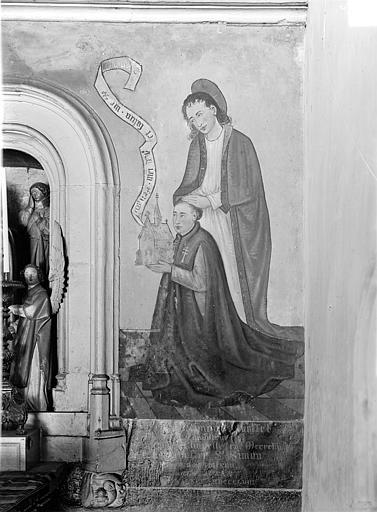 Hôpital général Peinture murale encadrant la Mise au tombeau dans la chapelle Sainte-Croix : Donateur et son saint patron (côté droit), Gossin (photographe),