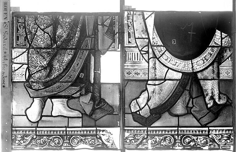 Eglise Saint-Godard Vitrail baie 18, Arbre de Jessé, quinzième panneau, en haut, Heuzé, Henri (photographe),