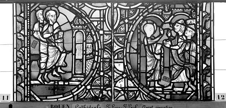 Cathédrale Vitrail, sacristie des Chanoines, saint Pierre et saint Paul, huitième panneau, Heuzé, Henri (photographe),