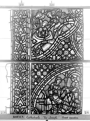 Cathédrale Vitrail, baie 59, Vie de Joseph, septième panneau, en haut, Heuzé, Henri (photographe),