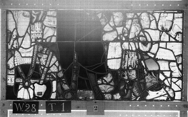 Cathédrale Vitrail, Chapelle Saint-Joseph, lancette gauche, Légende de saint Romain, dixième panneau, en haut, Heuzé, Henri (photographe),
