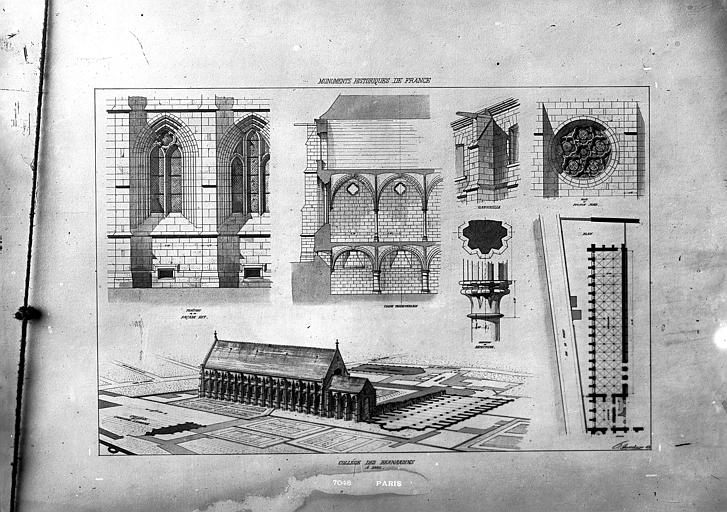 Couvent des Bernardins (ancien) Dessin, Durand, Eugène (photographe), 75 ; Paris ; Médiathèque de l'Architecture et du Patrimoine