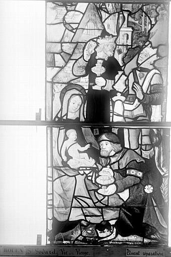 Eglise Saint-Godard Vitrail, baie 16, Vie de la Vierge, sixième panneau, en haut, Heuzé, Henri (photographe),