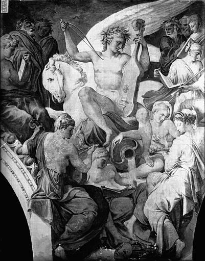 Domaine national, château Peintures murales de la galerie Henri II, partie centrale du Parnasse, Service photographique,