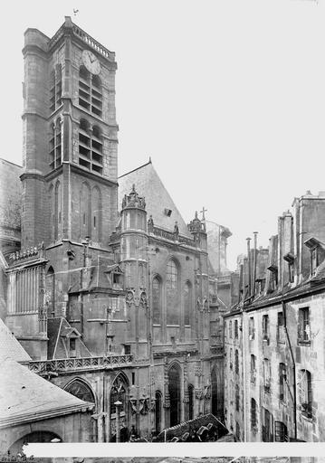 Eglise Saint-Gervais-Saint-Protais Clocher et façade, côté nord, Durand, Eugène (photographe),