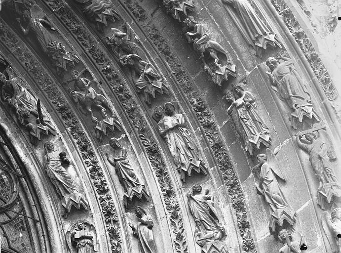 Cathédrale Notre-Dame Portail ouest, porte de droite, partie médiane de la voussure droite, Lajoie, Abel,