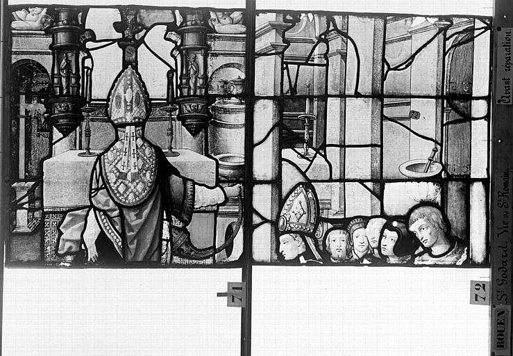 Eglise Saint-Godard Vitrail, baie 17, Vie de saint Romain, seizième panneau, en haut, Heuzé, Henri (photographe),