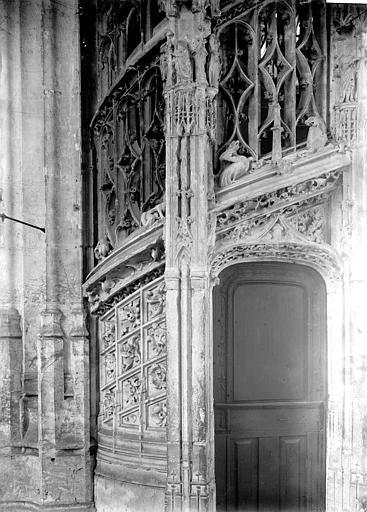 Eglise Saint-Maclou Escalier des orgues, détail, Enlart, Camille (historien),