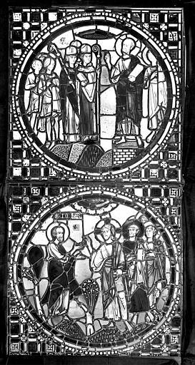 Cathédrale Saint-Jean Vitrail : Assemblée d'évêques. Christ et apôtres, ,