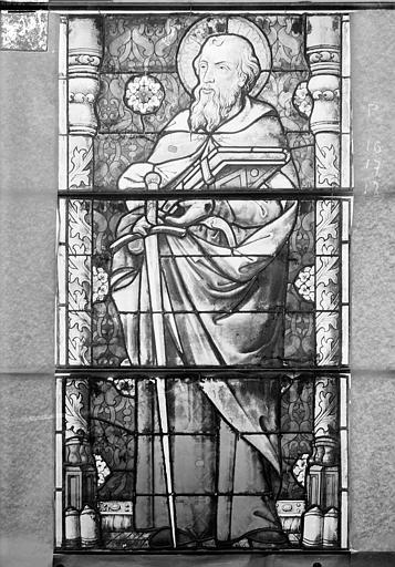 Eglise Saint-Gengoult Vitrail de la façade ouest, sixième lancette à gauche 16, 17, 18, Romanais (photographe),