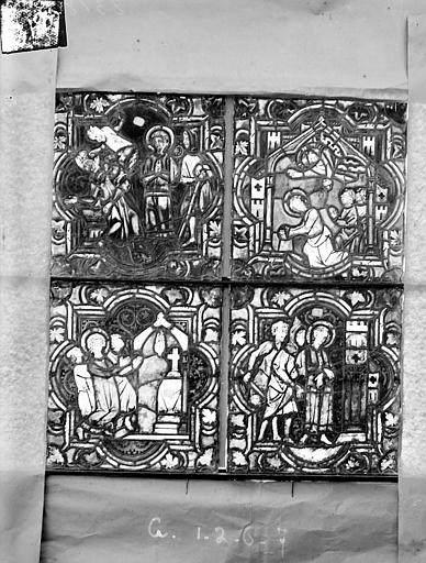 Eglise Saint-Gengoult Vitrail de la petite chapelle absidiale gauche, panneaux inférieurs des deux lancettes 1, 2, 6, 7, Romanais (photographe),