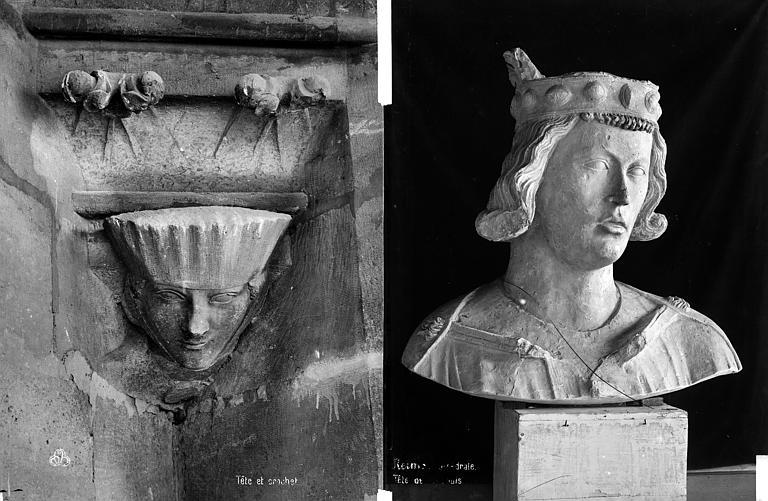 Cathédrale Notre-Dame Transept sud : détail de figure sculptée. Buste de Clovis (déposé), Mieusement, Médéric (photographe),