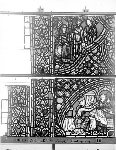 Cathédrale Vitrail, baie 59, Vie de Joseph, onzième panneau, en haut, Heuzé, Henri (photographe),