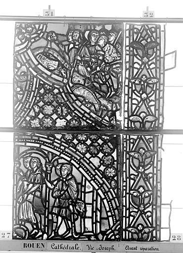 Cathédrale Vitrail, baie 59, Vie de Joseph, huitième panneau, en haut, Heuzé, Henri (photographe),