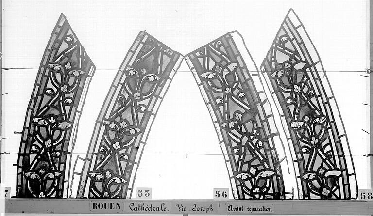 Cathédrale Vitrail, baie 59, Vie de Joseph, bordures, Heuzé, Henri (photographe),