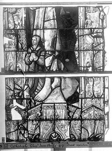 Cathédrale Vitrail, Chapelle Jeanne d'Arc, la Vierge et l'Enfant, saint jean, baie 36, douzième panneau, en haut, Heuzé, Henri (photographe),