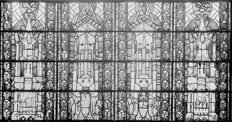 Eglise Saint-Gengoult Vitrail restauré, quatre dais, Romanais (photographe),