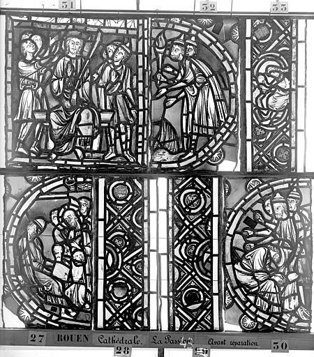 Cathédrale Vitrail, déambulatoire, la Passion, cinquième panneau, Heuzé, Henri (photographe),