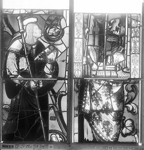 Eglise Saint-Eloi (ancienne) Vitrail, fenêtre 2, panneaux, Heuzé, Henri (photographe),