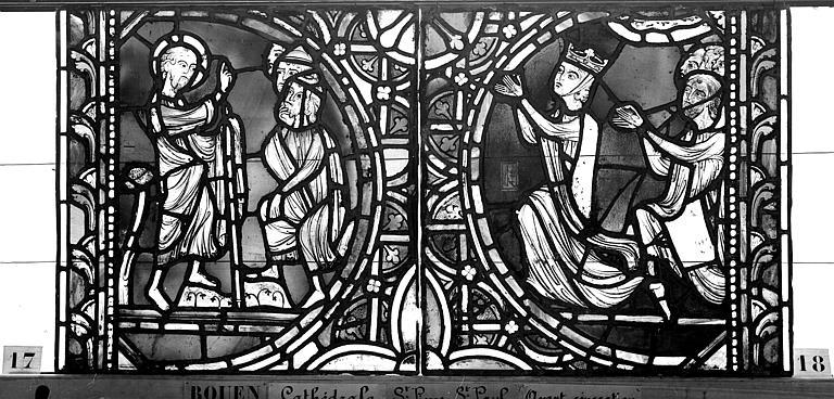 Cathédrale Vitrail, sacristie des Chanoines, saint Pierre et saint Paul, cinquième panneau, Heuzé, Henri (photographe),