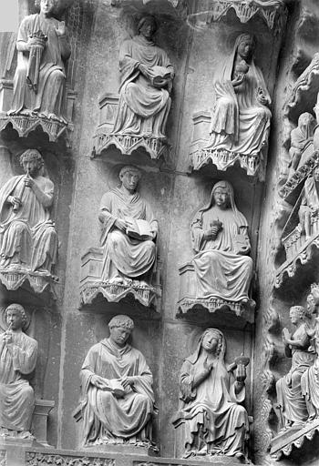 Cathédrale Notre-Dame Portail gauche de la façade nord (portail du Jugement). Voussures de gauche : Vierges sages, Sainsaulieu, Max (photographe),