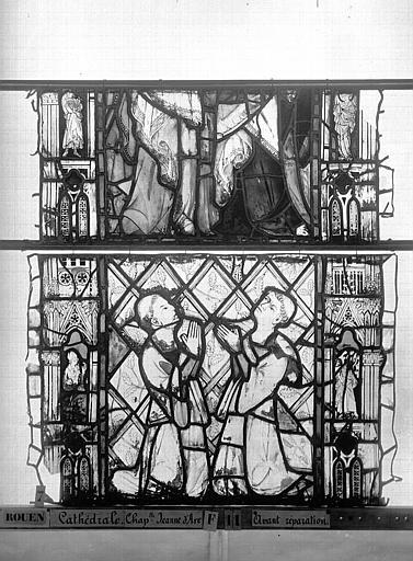 Cathédrale Vitrail, Chapelle Jeanne d'Arc, Baptême de saint jean, baie 38, quatrième panneau, en haut, Heuzé, Henri (photographe),