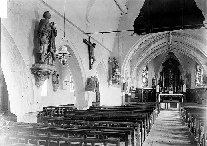Eglise Saint-Jean-Baptiste (supposée) Nef vue de l'entrée, Enlart, Camille (historien),