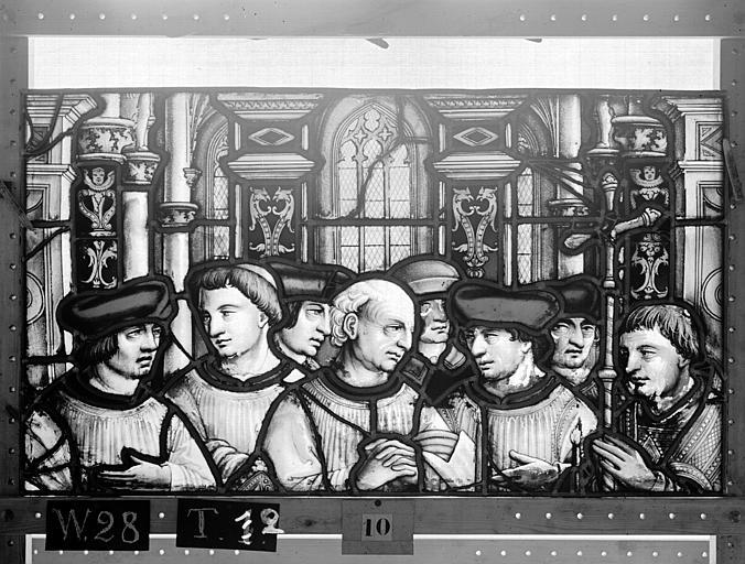Cathédrale Vitrail, Chapelle Saint-Joseph, lancette médiane, Légende de saint Romain, deuxième panneau, en haut, Heuzé, Henri (photographe),