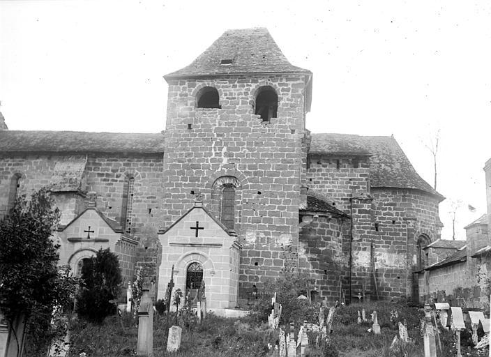 Eglise Saint-Sanctin ou Saint-Xantin Façade sud et cimetière, Chaine, Henri (architecte),