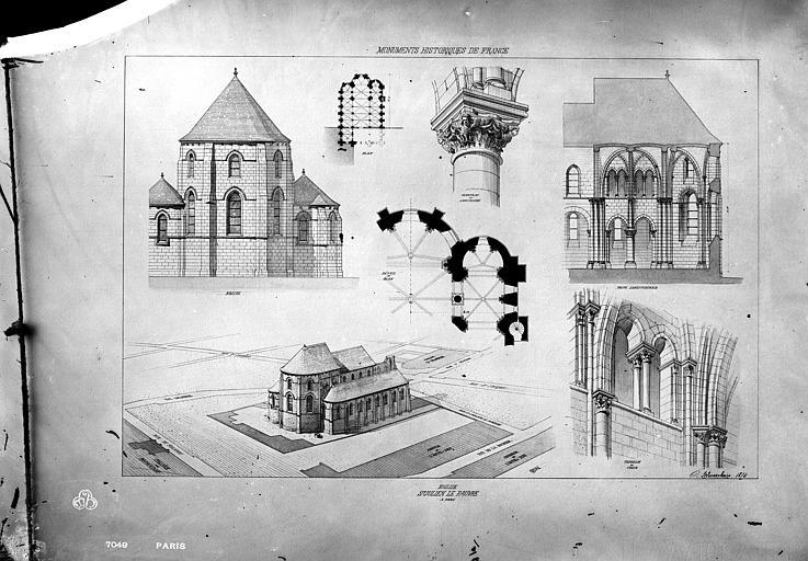 Eglise Saint-Julien-le-Pauvre Dessin, Durand, Eugène (photographe), 75 ; Paris ; Médiathèque de l'Architecture et du Patrimoine