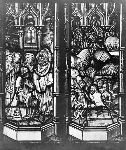 Ensemble archiépiscopal Vitrail : Pilate se lave les main. Personnage à genoux. Descente aux limbes, Leprévost (photographe),