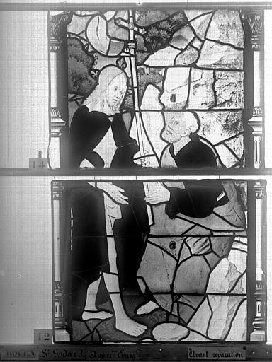 Eglise Saint-Godard Vitrail, baie 15, Apparition du Christ, deuxième panneau, Heuzé, Henri (photographe),