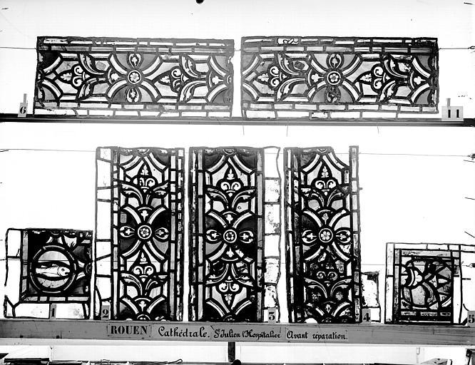 Cathédrale Vitrail, déambulatoire au nord, saint Julien l'Hospitalier, bordures, Heuzé, Henri (photographe),