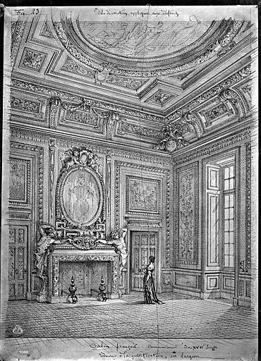 Hôtel Bernuy Dessin, portique cour, Durand, Eugène (photographe), 75 ; Paris ; Médiathèque de l'Architecture et du Patrimoine
