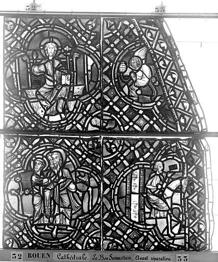 Cathédrale Vitrail, déambulatoire, baie 52, le Bon Samaritain, troisième panneau, en haut, Heuzé, Henri (photographe),