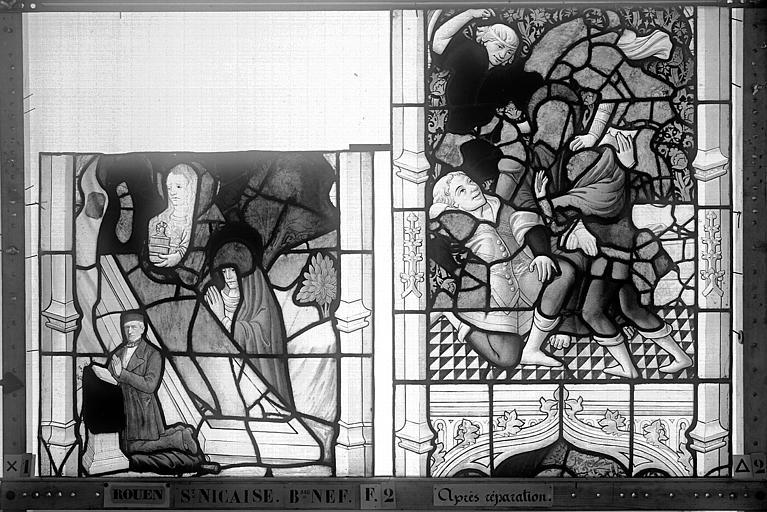 Eglise Saint-Nicaise Vitrail, fenêtre 2, bas-côté nord, la Passion, panneaux, Heuzé, Henri (photographe),