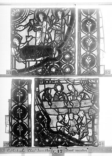 Cathédrale Vitrail, Chapelle Jeanne d'Arc, la Vierge et l'Enfant, saint jean, baie 36, quatrième panneau, en haut, Heuzé, Henri (photographe),