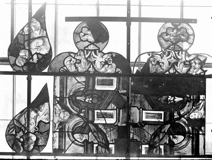 Eglise Vitraux, panneaux 1, 7, 13, 14, 16, 18 de la baie D, Nadeau, H. (photographe),