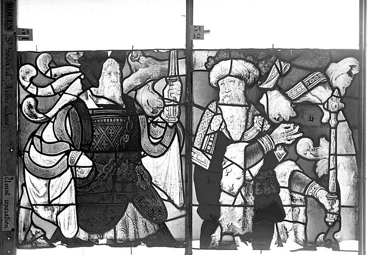 Eglise Saint-Godard Vitrail baie 18, Arbre de Jessé, troisième panneau, en haut, Heuzé, Henri (photographe),