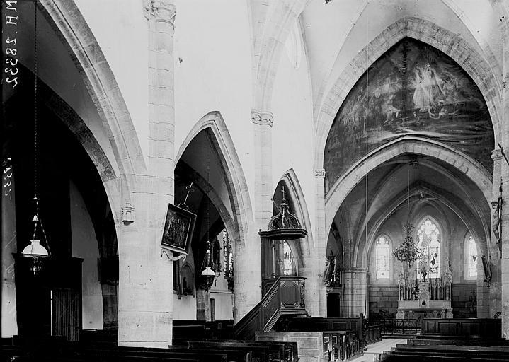 Eglise Notre-Dame Nef et bas-côté nord vus de l'entrée, Enlart, Camille (historien),