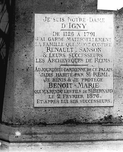 Cathédrale Notre-Dame Inscription de Notre-Dame d'Igny, Lajoie, Abel,