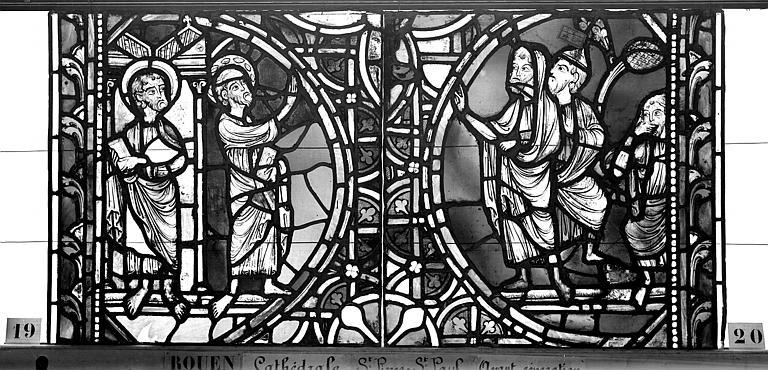 Cathédrale Vitrail, sacristie des Chanoines, saint Pierre et saint Paul, quatrième panneau, Heuzé, Henri (photographe),